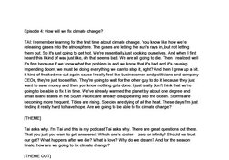 Tai Asks Why - Climate Change transcript
