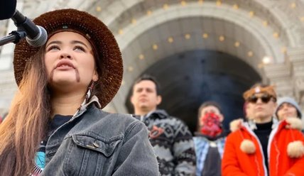 Indigenous youth talk to press in front of B.C. Legislature (February 26, 2020)
